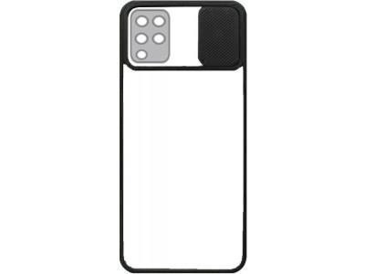 جراب ظهر باطار اسود مع غطاء حماية للكاميرا لهاتف سامسونج جالكسي ايه 12 - Galaxy A12