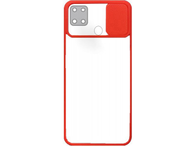 جراب ظهر باطار احمر مع غطاء حماية للكاميرا لهاتف اوبو ايه 15 - OppoA15
