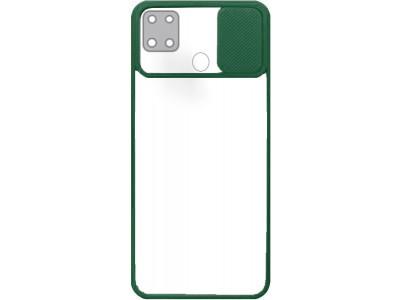 جراب ظهر باطار اخضر مع غطاء حماية للكاميرا لهاتف اوبو ايه 15 - OppoA15