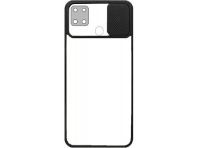 جراب ظهر باطار اسود مع غطاء حماية للكاميرا لهاتف اوبو ايه 15 - OppoA15