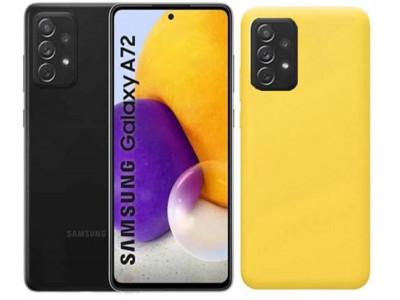جراب ظهر اصفر  من السيليكون لهاتف سامسونج جالكسي ايه 72 - Galaxy A72