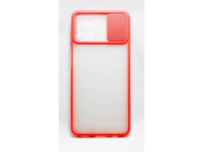 جراب ظهر باطار احمر مع غطاء حماية للكاميرا لهاتف سامسونج جالكسي ايه 12 - Galaxy A12
