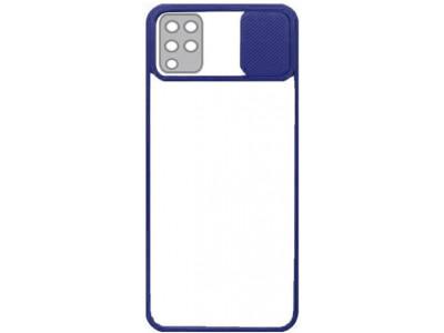 جراب ظهر باطار ازرق مع غطاء حماية للكاميرا لهاتف سامسونج جالكسي ايه 12 - Galaxy A12