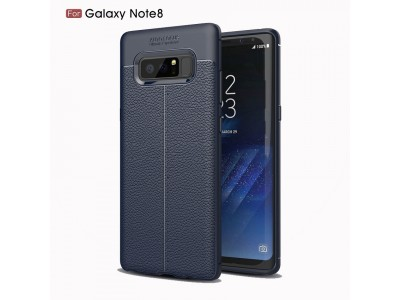 Galaxy Note 8 Ultra-thin PU Leather Soft TPU Protective Back Case Cover Navy Blue