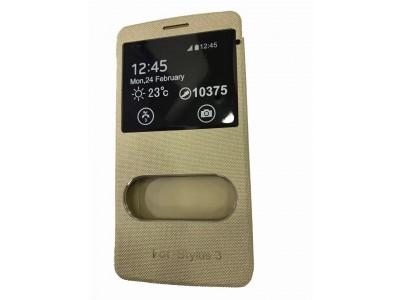 LG Stylus 3 M400DK Sensor Window Flip Cover by SmartLike For LG Stylus 3 M400DK GOLD